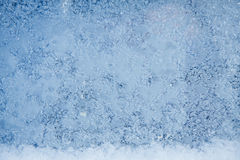 Winter ice frost, frozen background. frosted window glass textur Royalty Free Stock Photo