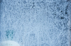Winter ice frost, frozen background. frosted window glass textur Stock Photos