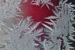 Frozen glass with ice. Winter ice frost, frozen background. Macro detail of frosted window glass texture Royalty Free Stock Photos
