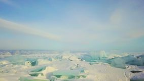Winter ice hummocks Lake Baikal in a small sea, aerial photography stock footage