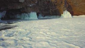 Winter ice hummocks Lake Baikal in a small sea, aerial photography stock video