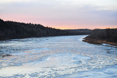 Winter ice river Stock Photo