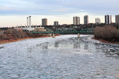 Winter ice river and city Stock Photography