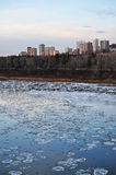 Winter ice river and city Royalty Free Stock Photography