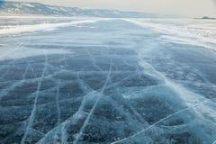Winter ice road through Baikal Royalty Free Stock Photos
