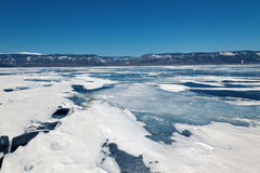Winter ice road through Baikal Royalty Free Stock Photography