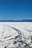 Winter ice road through Baikal Royalty Free Stock Photo