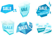 Winter ice sale set. Snow cold sale banner template. Christmas frozen ice peace sale tag discount symbol. Stock Image