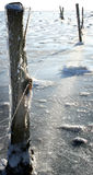 Winter ice sea. Winter ice on sea, snow and bright sunshine. Fence post iced over flooded frozen meadow by ocean stock images