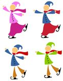 Winter Ice Skaters Royalty Free Stock Photo