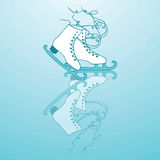 Winter ice skates and reflection trails. Winter holidays card with ice skates and reflection trails. Vector  on the blue background. Christmas ans New Year Royalty Free Stock Photos