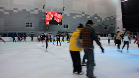 Winter ice skating stock video footage