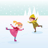 Winter: Ice skating little girl and boy. Two kids in winter costumes practicing ice skating on frozen lake. Vector cartoon illustration Royalty Free Stock Photography
