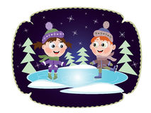 Winter: Ice skating little girl and boy. Two kids in winter costumes practicing ice skating on frozen lake Stock Images