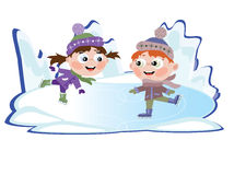 Winter: Ice skating little girl and boy. Two kids in winter costumes practicing ice skating on frozen lake Stock Photos
