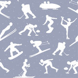Winter Ice Snow Sports Seamless Pattern Background. Including silhouettes of cross country, freestyle skiiing, sowboarding, speed skating, ski jumping, curling Stock Photos