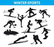 Winter Ice Snow Sports SIlhouettes Set. Including cross country, freestyle skiiing, sowboarding, speed skating, ski jumping, curling and figure skating, ice Royalty Free Stock Photo