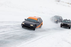 Winter ice track race Royalty Free Stock Photo