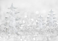 Winter ice trees background with abstract lights Royalty Free Stock Image