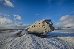 Iceland airplane wreckage. Winter Iceland Solheimasandur airplane wreckage Royalty Free Stock Photography