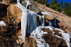 Winter Icicle Formation On Rocks in the Mountains on a Sunny Day Stock Images