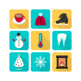 Winter icon set. Set of 9 typical winter icons Stock Images