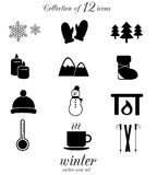 Winter icon set. Vector icons isolated on white background Royalty Free Stock Images