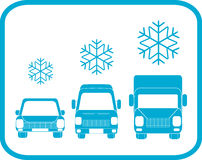 Winter icon with transport silhouette Royalty Free Stock Photography