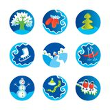 Winter icons. Illustration of different winter themed objects Stock Photos