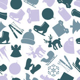 Winter icons color pattern  Royalty Free Stock Image