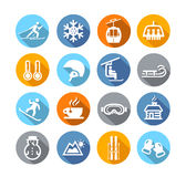 Winter Icons Flat Design Stock Photo