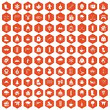100 winter icons hexagon orange. 100 winter icons set in orange hexagon isolated vector illustration Royalty Free Stock Photography