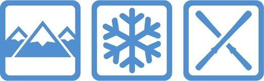 Winter Icons Mountains Snowflake Skis. Vector Stock Photography