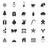 Winter icons with reflect on white background Royalty Free Stock Images