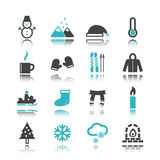 Winter icons with reflection Royalty Free Stock Photo