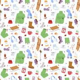 Winter icons seamless pattern vector patches. Stock Images