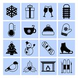 Winter icons set black and white Stock Photo