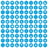 100 winter icons set blue. 100 winter icons set in blue hexagon isolated vector illustration Royalty Free Illustration