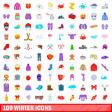 100 winter icons set, cartoon style. 100 winter icons set in cartoon style for any design vector illustration Royalty Free Stock Photo