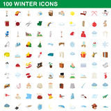100 winter icons set, cartoon style. 100 winter icons set in cartoon style for any design vector illustration Stock Photo