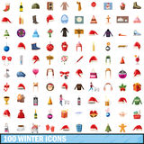 100 winter icons set, cartoon style Royalty Free Stock Photos