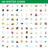100 winter icons set, cartoon style. 100 winter icons set in cartoon style for any design illustration vector illustration