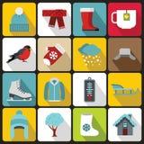 Winter icons set, flat style Stock Photography