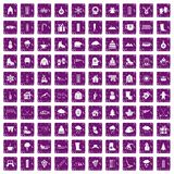 100 winter icons set grunge purple. 100 winter icons set in grunge style purple color isolated on white background vector illustration Royalty Free Illustration