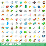 100 winter icons set, isometric 3d style. 100 winter icons set in isometric 3d style for any design vector illustration Stock Photography