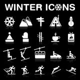 Winter Icons Set (Negative) royalty free stock photography