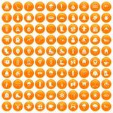100 winter icons set orange. 100 winter icons set in orange circle isolated on white vector illustration Royalty Free Illustration