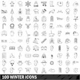 100 winter icons set, outline style. 100 winter icons set in outline style for any design vector illustration Royalty Free Stock Photos