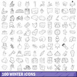 100 winter icons set, outline style. 100 winter icons set in outline style for any design vector illustration Stock Photography