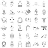 Winter icons set, outline style. Winter icons set. Outline style of 36 winter vector icons for web isolated on white background Royalty Free Stock Photo